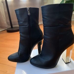 Black booties, clear heel